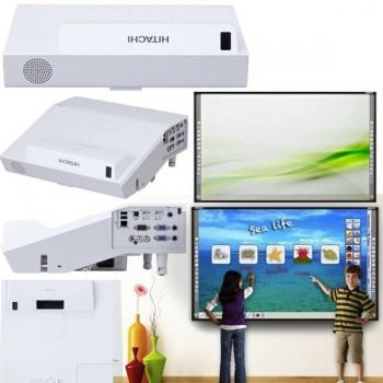 Kit interactivo compuesto por proyector CP-AX2503, con soporte de pared pizarra FX79, caja de conexi