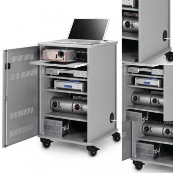 Mueble multimedia Nobo 4 baldas con ruedas 95x57x60cm