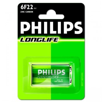 PHILIPS Pila alkalina 6f22 RECARGABLE (cuadrada 9V)