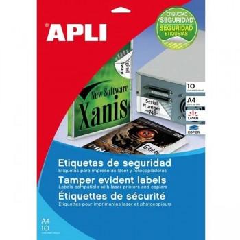 APLI Etiqueta de seguridad laser / copy con cantos romos paquetes de 10 hojas