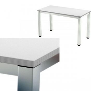 Mesa rectangular serie Executive 140x80x72-77cm. aluminio/gris
