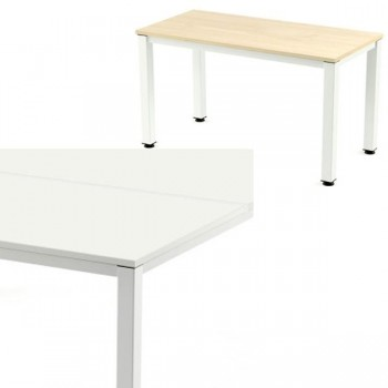 Mesa rectangular serie Executive 160x80x72-77cm.blanco/haya