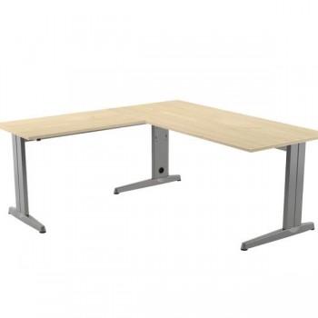 Ala mesa para serie Metal 60x60cm. aluminio/haya