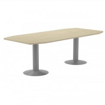 Mesa reunión pie columna 220x100x72cm. aluminio/haya