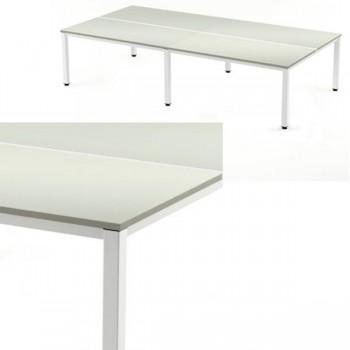 Mesa reunión 360x163x72-77cm. aluminio/gris