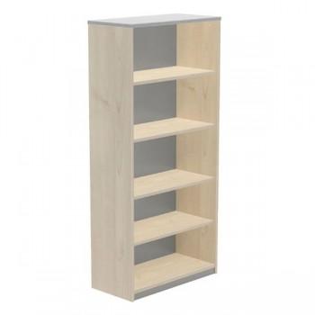 Armario  librería 4 estantes 90x195x45cm. haya/gris