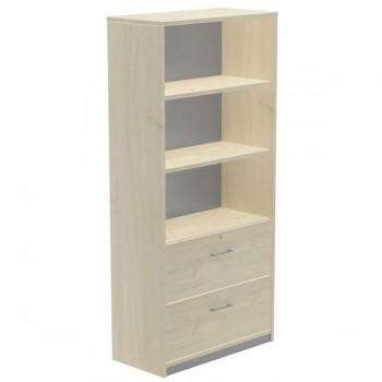 Armario carpetero 2 estantes + 2 cajones archivo 90x195x45cm. haya/haya