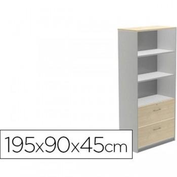 Armario carpetero 2 estantes + 2 cajones archivo 90x195x45cm. aluminio/haya