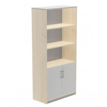 Armario puertas bajas + 2 estantes 90x195x45cm. haya/gris