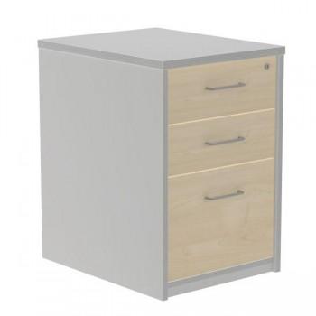 Buck 2 cajones + 1 cajón archivo 47x72x60cm. aluminio/haya