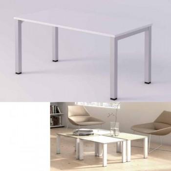 Mesa de espera estructura metal blanca encimera roble 60x60x40cm.