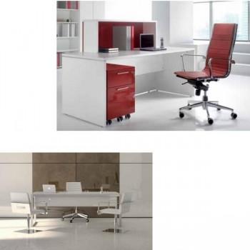 Mesa rectangular serie New Pano estructura melamina color blanco encimera roble 140x80x75cm.