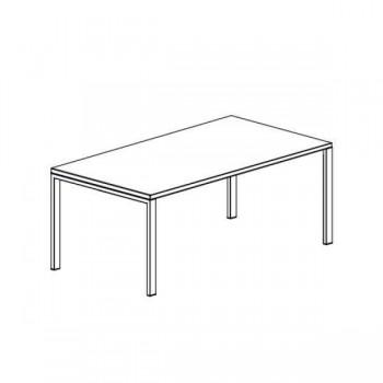Mesa rectangular serie Ipop estructura metálica blanca encimera roble 120x80x74cm.