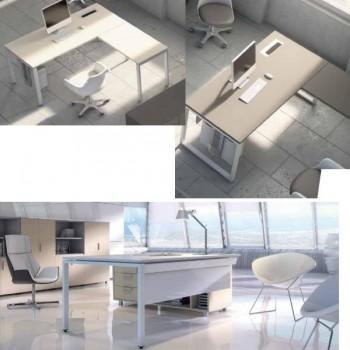 Mesa rectangular serie Ipop estructura metálica blanca encimera roble 180x80x74cm.