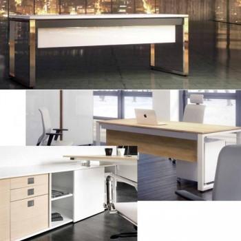 Mesa rectangular para armario ala serie Oxygen estructura metálica blanca encimera blanca 200x90x74c