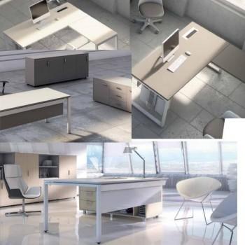 Mesa de reunión rectangular serie Ipop estructura blanca encimera roble 150x120x74cm.