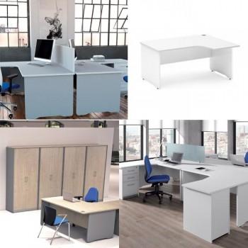Mesa en forma de L derecha serie Work 160x120x72cm. Blanco-blanco