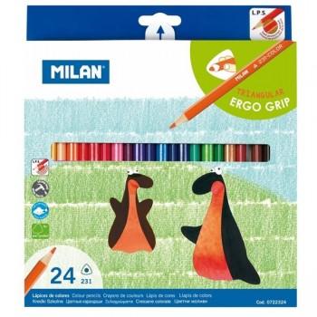 MILAN Lapices colores triangulares caja plastica de 24 unidades