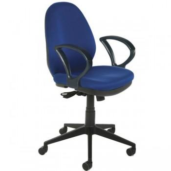 Silla de oficina Allison mecanismo sincro con brazos tapizado 1 azul