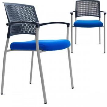 Silla confidente Clapton con respaldo en polímero técnico y asiento tapizado 1 negro