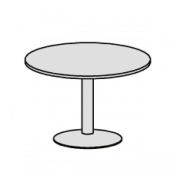 Mesa reuniones pie columna diam 100 aluminio/blanco