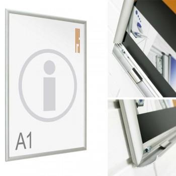 PS Expositor porta-poster de pared mod.850 marco aluminio abatible 87x122 (DIN A0)