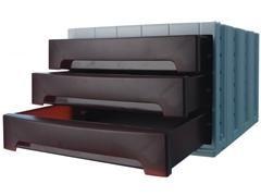 Módulo 3 cajones medianos archivotec 370X305x215mm gris/burdeos