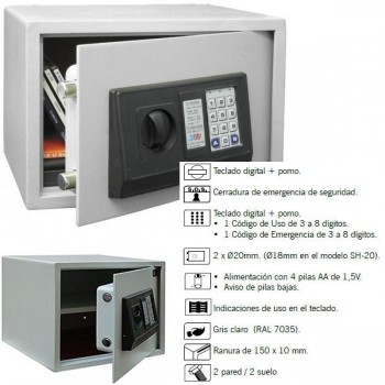 Caja seguridad electrónica BTV SH-25 10 kg 25x35x25cm gris claro