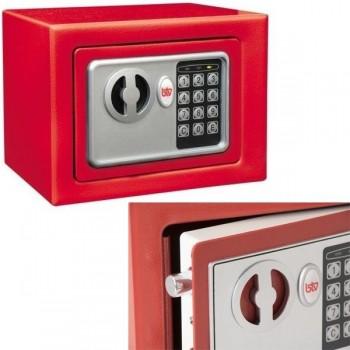 Caja seguridad electrónica pequeña BTV 4 kg 17x23x17cm rojo