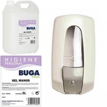 Pack compuesto por una Caja de 2 Garrafas gel lavamanos buga 5l + una jabonera de pared 900cc abs bl