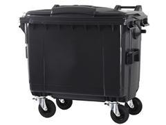 Contenedor basura 4 ruedas de goma con freno 660l gris
