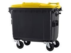 Contenedor basura 4 ruedas de goma con freno 660l gris amarillo