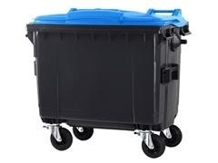 Contenedor basura 4 ruedas de goma con freno 660l gris azul