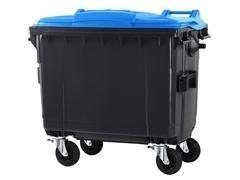 Contenedor basura 4 ruedas de goma con freno 770l gris azul