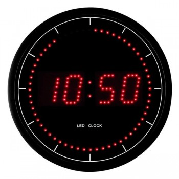 Reloj de pared digital de leds 30cm diam.