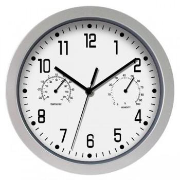 Poessa Reloj de oficina marco plata 30 cm diám.