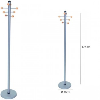 Sie Perchero metálico 8 colgadores madera 177x 30 cm.