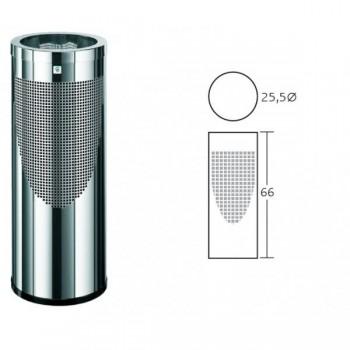 Papelera acero inoxidable Cilindro perforada con remate superior cromado