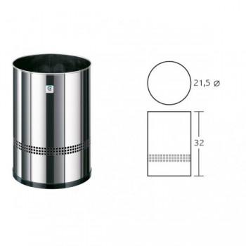 CILINDRO Papelera acero inoxidable perforada altura 32cm diámetro 21,5cm