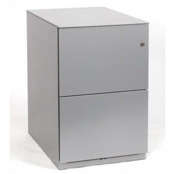 Cajonera móvil metálica 2 cajones de archivo 420x645x495mm. Gris