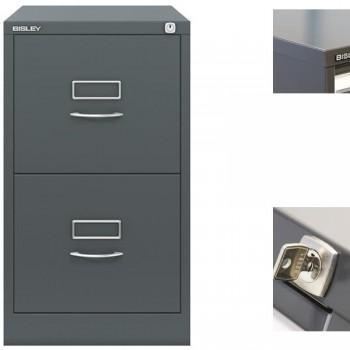 Archivador metálico BS Premium 2 cajones de archivo. A4. Tirador clásico cromado 413x711x622mm. Gris