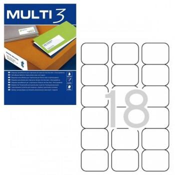 MULTI3 Etiqueta i/l/c adh.perm.c/romo a4 c100 (63,5x46,6 mm 1800unds)