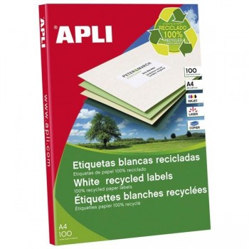APLI Etiqueta i/l/c adh.perm.recicladas a4 c-100 (210x297mm 100unds)